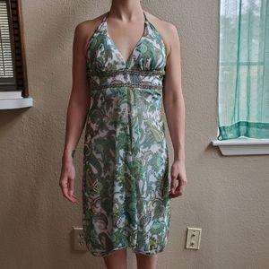 Patterned mesh, hi-low halter top dress, Sz S
